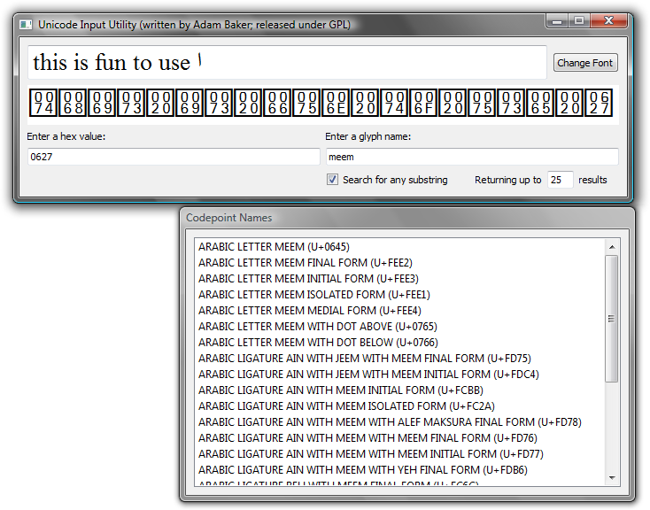 Screenshot of Unicode Input Utility